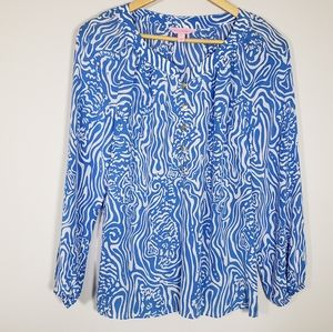 lilly pulitzer blue silk camille blouse